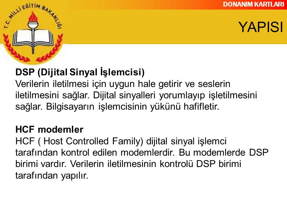 DONANIM KARTLARI DSP (Dijital Sinyal İşlemcisi) Verilerin iletilmesi için uygun hale getirir ve seslerin iletilmesini sağlar. Dijital sinyalleri yorum
