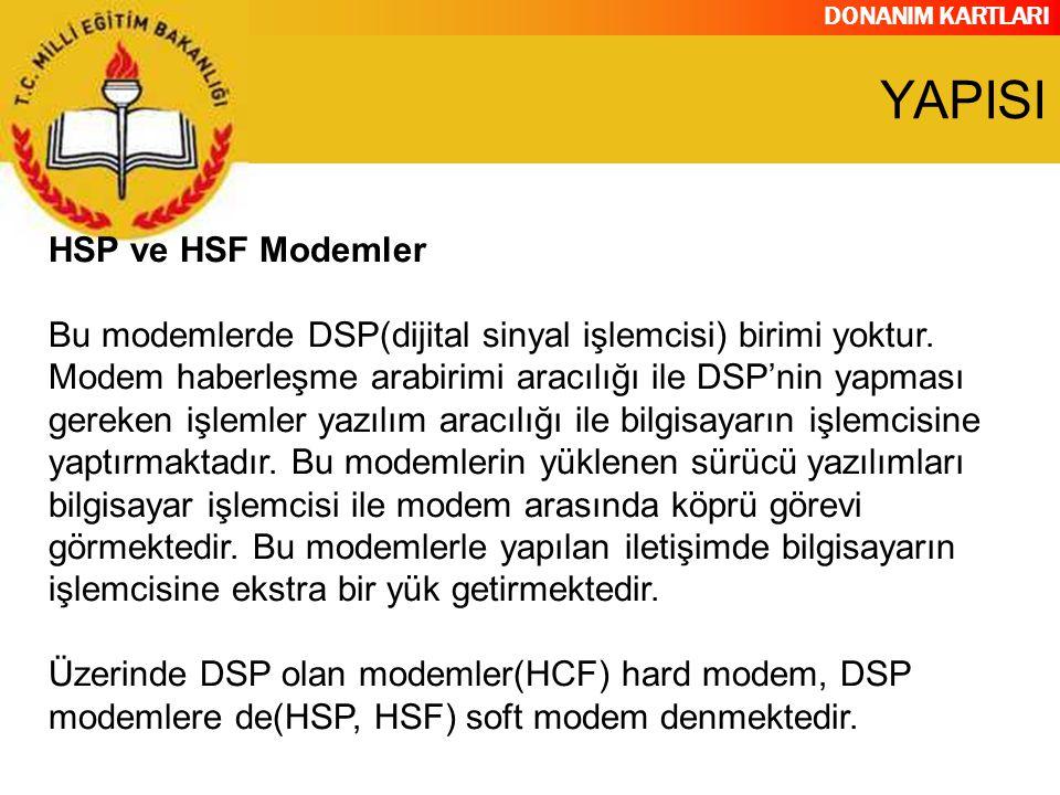 DONANIM KARTLARI HSP ve HSF Modemler Bu modemlerde DSP(dijital sinyal işlemcisi) birimi yoktur. Modem haberleşme arabirimi aracılığı ile DSP'nin yapma