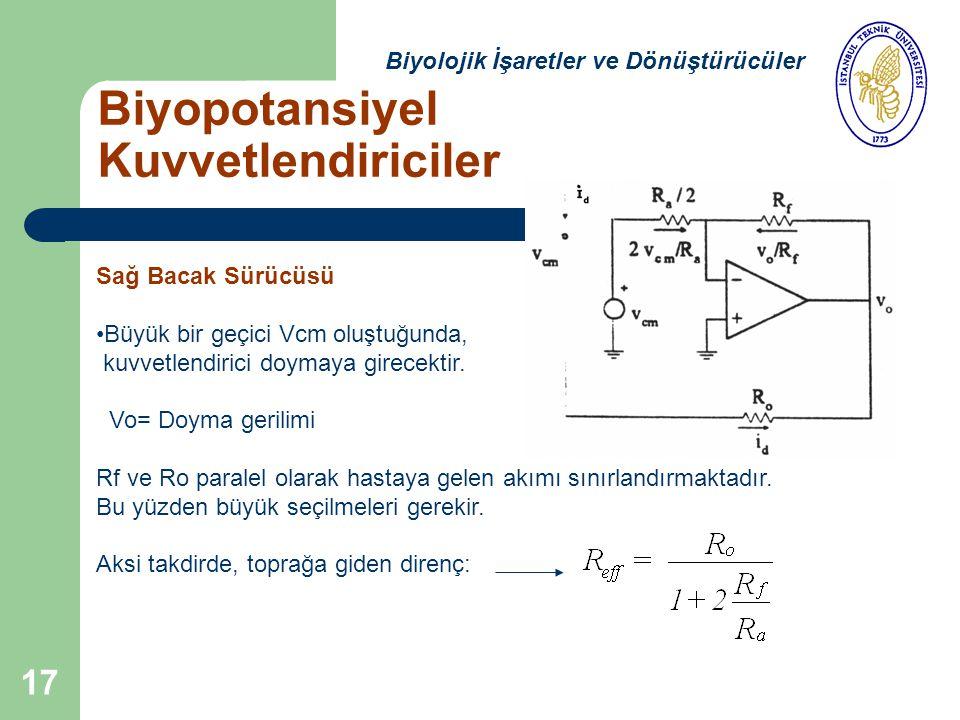 17 Biyopotansiyel Kuvvetlendiriciler Biyolojik İşaretler ve Dönüştürücüler Sağ Bacak Sürücüsü Büyük bir geçici Vcm oluştuğunda, kuvvetlendirici doymaya girecektir.