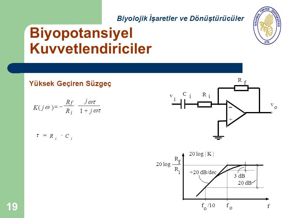 19 20 log   K   20 log R f R i 3 dB +20 dB/dec o f f 20 dB o f /10 v v o i C R i R f i RC ii  Kj()  R Rj f i    1 j + Biyopotansiyel Kuvvetlendiriciler Biyolojik İşaretler ve Dönüştürücüler Yüksek Geçiren Süzgeç