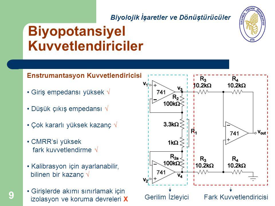 9 Biyopotansiyel Kuvvetlendiriciler Biyolojik İşaretler ve Dönüştürücüler Enstrumantasyon Kuvvetlendiricisi Giriş empedansı yüksek √ Düşük çıkış empedansı √ Çok kararlı yüksek kazanç √ CMRR'si yüksek fark kuvvetlendirme √ Kalibrasyon için ayarlanabilir, bilinen bir kazanç √ Girişlerde akımı sınırlamak için izolasyon ve koruma devreleri X Fark KuvvetlendiricisiGerilim İzleyici