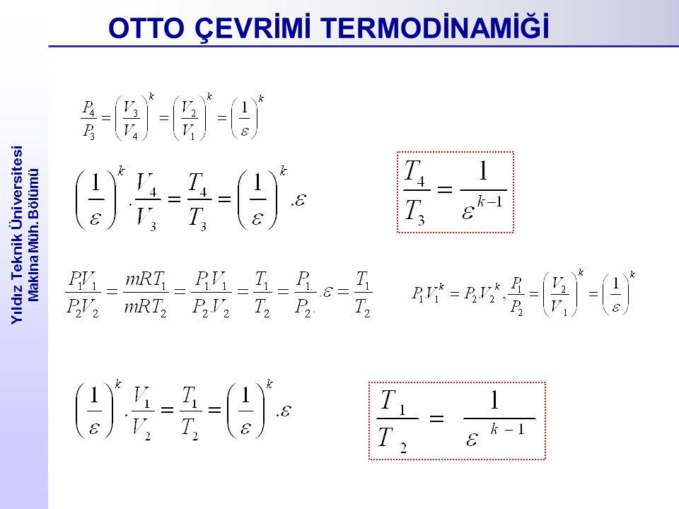 Yıldız Teknik Üniversitesi Makina Müh. Bölümü OTTO ÇEVRİMİ TERMODİNAMİĞİ