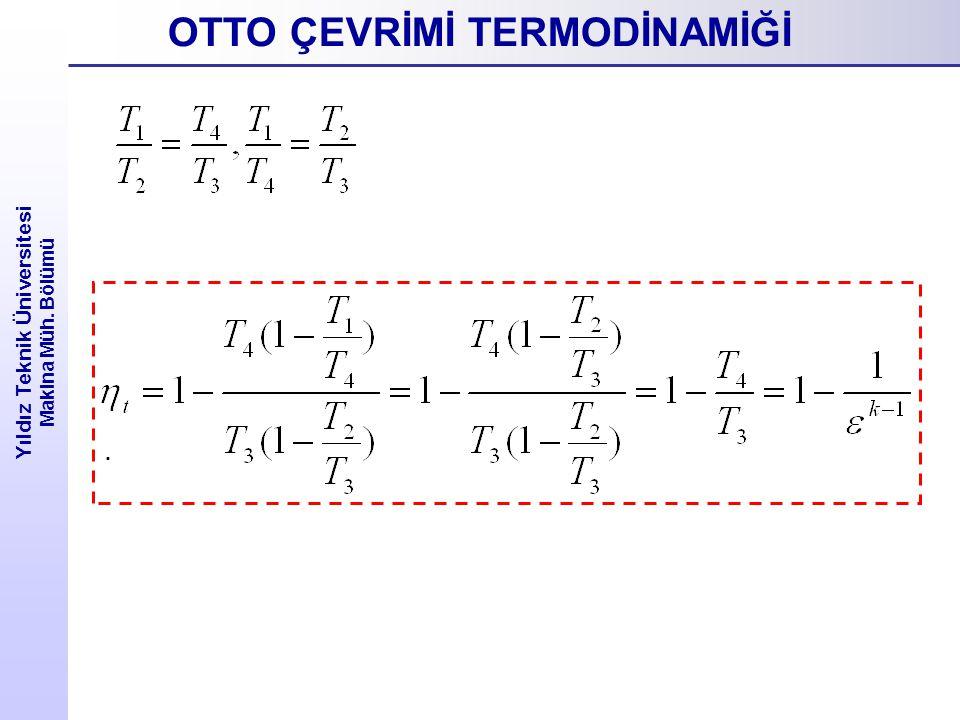 Yıldız Teknik Üniversitesi Makina Müh. Bölümü. OTTO ÇEVRİMİ TERMODİNAMİĞİ