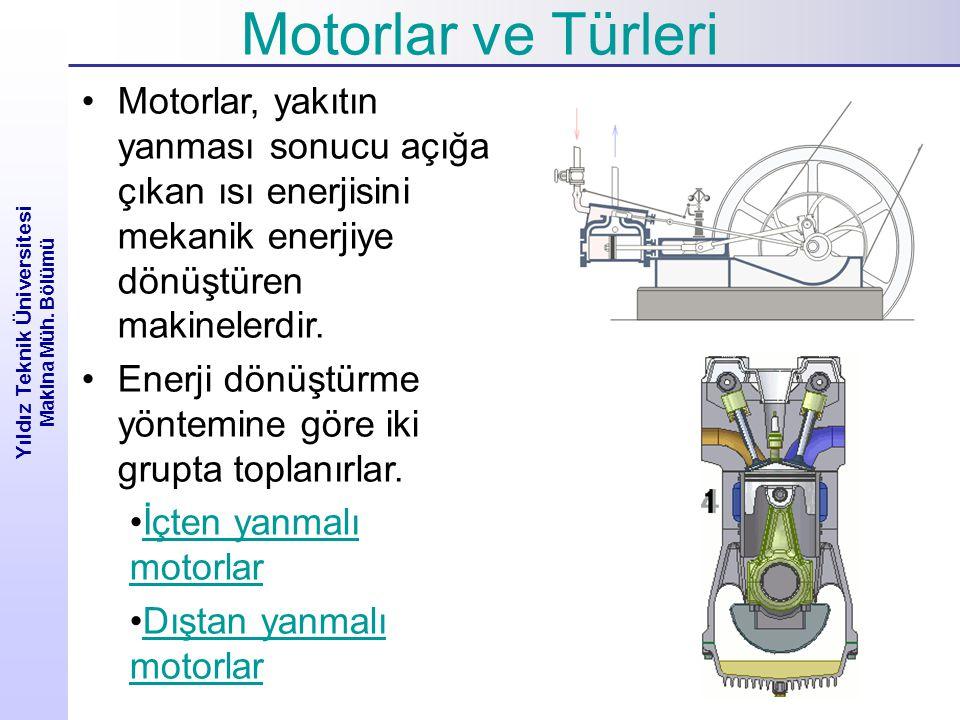 Yıldız Teknik Üniversitesi Makina Müh. Bölümü Motorlar, yakıtın yanması sonucu açığa çıkan ısı enerjisini mekanik enerjiye dönüştüren makinelerdir. En