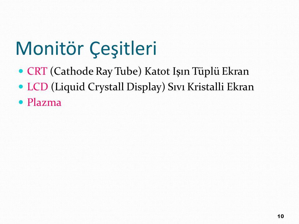 Monitör Çeşitleri CRT (Cathode Ray Tube) Katot Işın Tüplü Ekran LCD (Liquid Crystall Display) Sıvı Kristalli Ekran Plazma 10