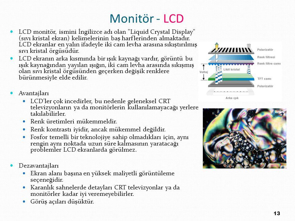 Monitör - LCD LCD monitör, ismini İngilizce adı olan