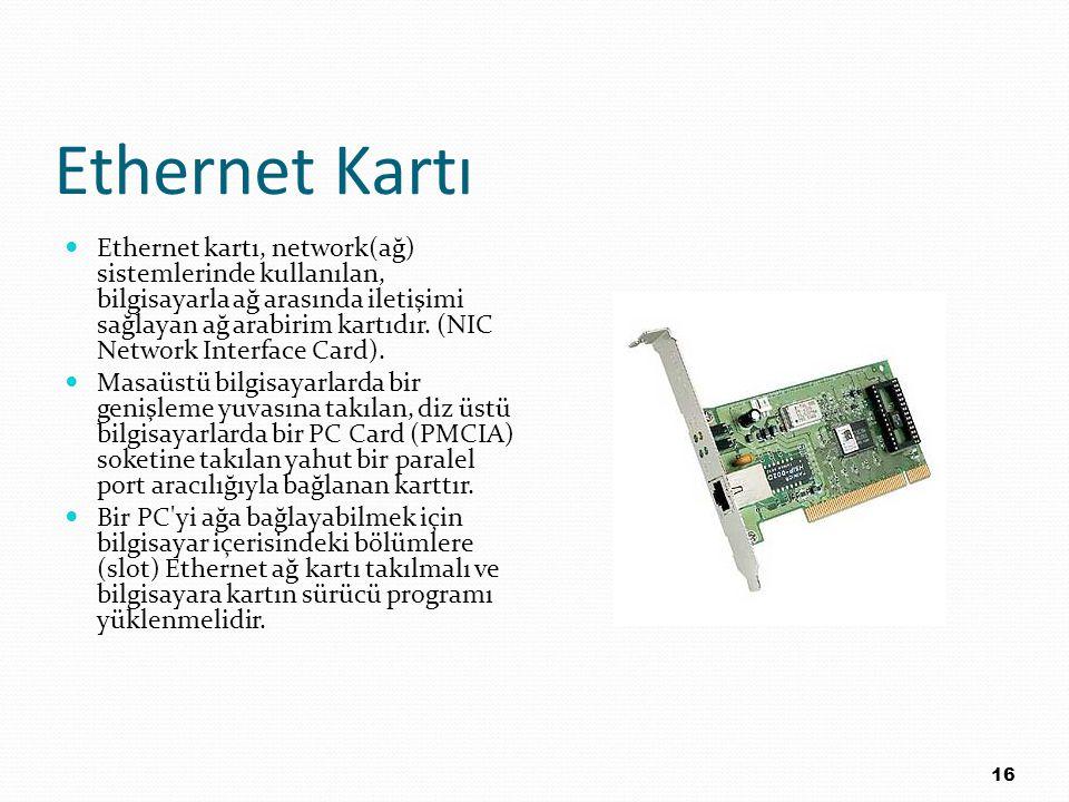Ethernet Kartı Ethernet kartı, network(ağ) sistemlerinde kullanılan, bilgisayarla ağ arasında iletişimi sağlayan ağ arabirim kartıdır. (NIC Network In