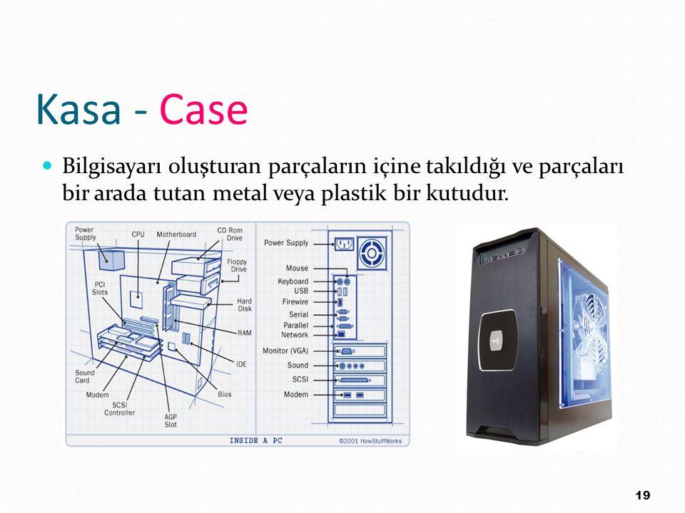 Kasa - Case Bilgisayarı oluşturan parçaların içine takıldığı ve parçaları bir arada tutan metal veya plastik bir kutudur. 19