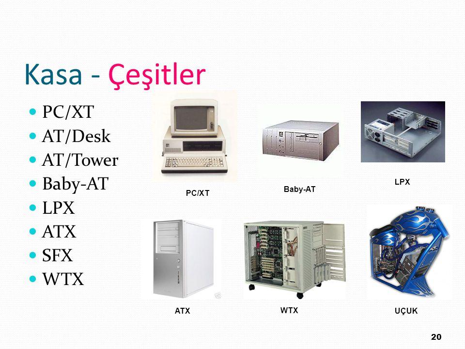 Kasa - Çeşitler PC/XT AT/Desk AT/Tower Baby-AT LPX ATX SFX WTX 20 PC/XT Baby-AT LPX ATX WTX UÇUK