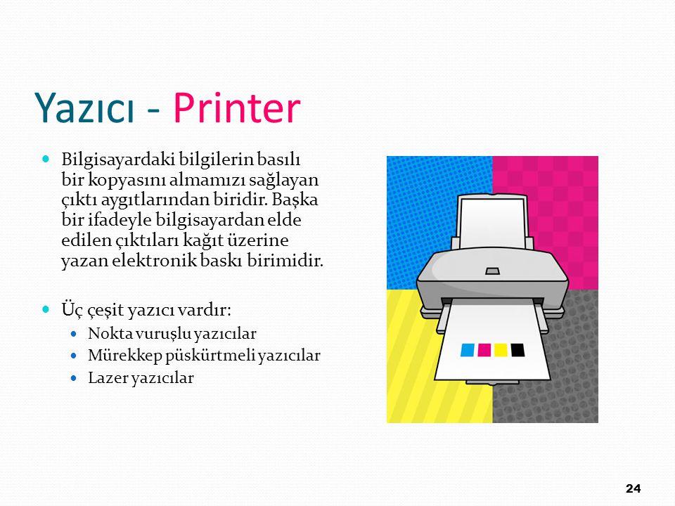 Yazıcı - Printer Bilgisayardaki bilgilerin basılı bir kopyasını almamızı sağlayan çıktı aygıtlarından biridir. Başka bir ifadeyle bilgisayardan elde e