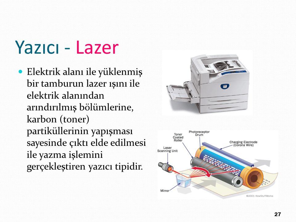 Yazıcı - Lazer Elektrik alanı ile yüklenmiş bir tamburun lazer ışını ile elektrik alanından arındırılmış bölümlerine, karbon (toner) partiküllerinin y