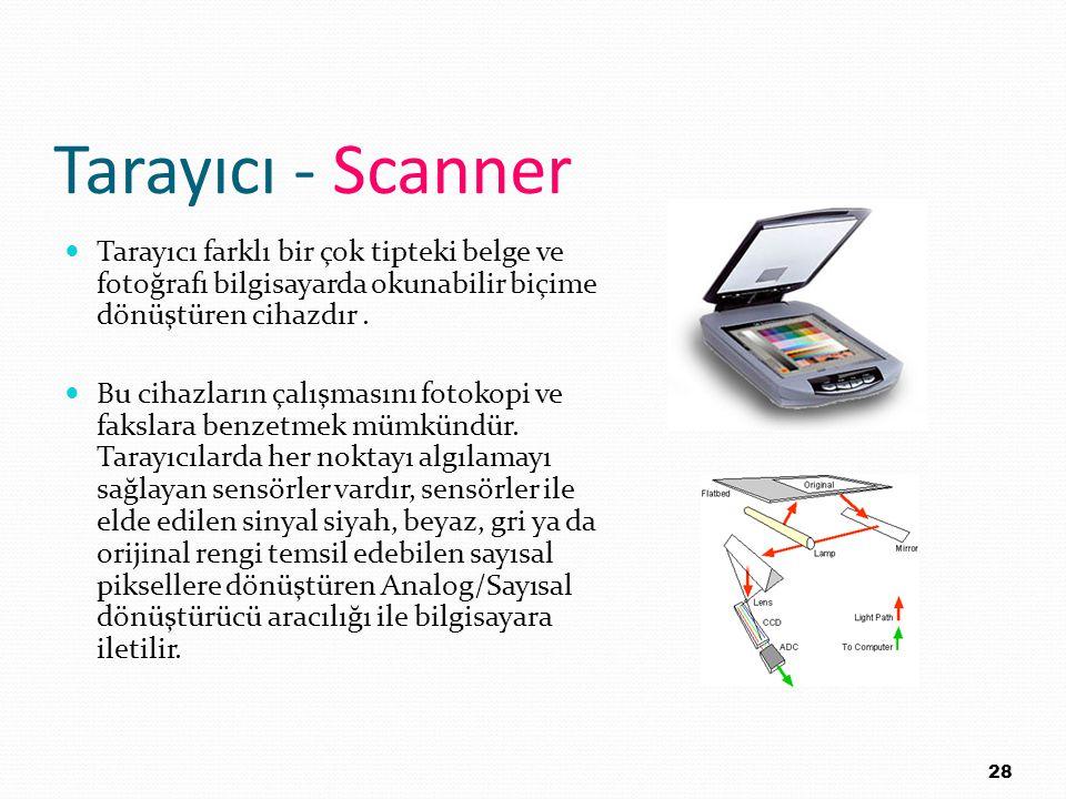 Tarayıcı - Scanner Tarayıcı farklı bir çok tipteki belge ve fotoğrafı bilgisayarda okunabilir biçime dönüştüren cihazdır. Bu cihazların çalışmasını fo