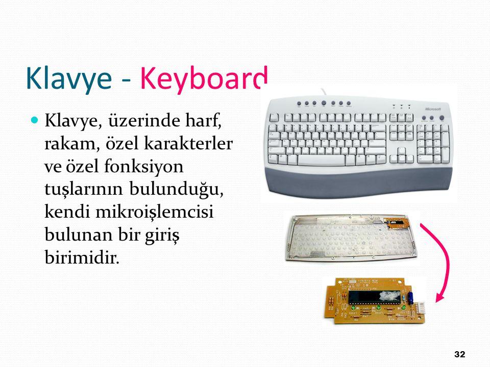 Klavye - Keyboard Klavye, üzerinde harf, rakam, özel karakterler ve özel fonksiyon tuşlarının bulunduğu, kendi mikroişlemcisi bulunan bir giriş birimi