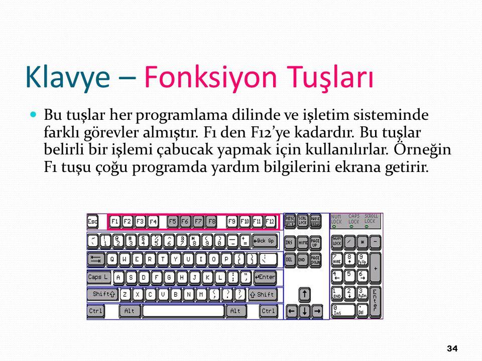 Klavye – Fonksiyon Tuşları Bu tuşlar her programlama dilinde ve işletim sisteminde farklı görevler almıştır. F1 den F12'ye kadardır. Bu tuşlar belirli