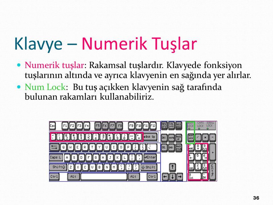 Klavye – Numerik Tuşlar Numerik tuşlar: Rakamsal tuşlardır. Klavyede fonksiyon tuşlarının altında ve ayrıca klavyenin en sağında yer alırlar. Num Lock