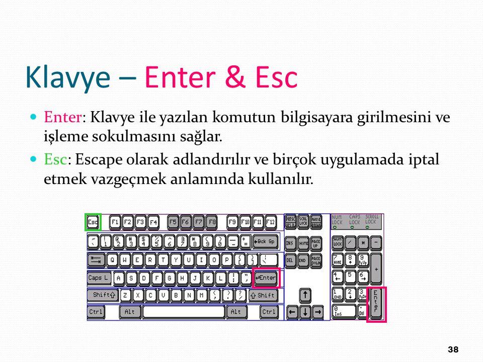 Klavye – Enter & Esc Enter: Klavye ile yazılan komutun bilgisayara girilmesini ve işleme sokulmasını sağlar. Esc: Escape olarak adlandırılır ve birçok