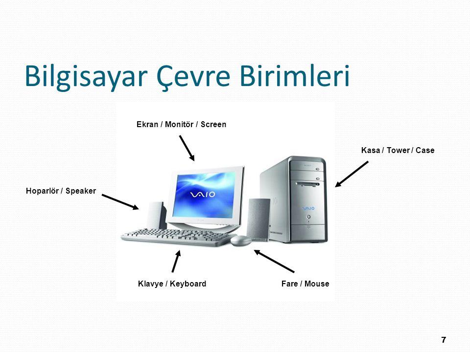 Bilgisayar Çevre Birimleri 7 Ekran / Monitör / Screen Kasa / Tower / Case Fare / MouseKlavye / Keyboard Hoparlör / Speaker