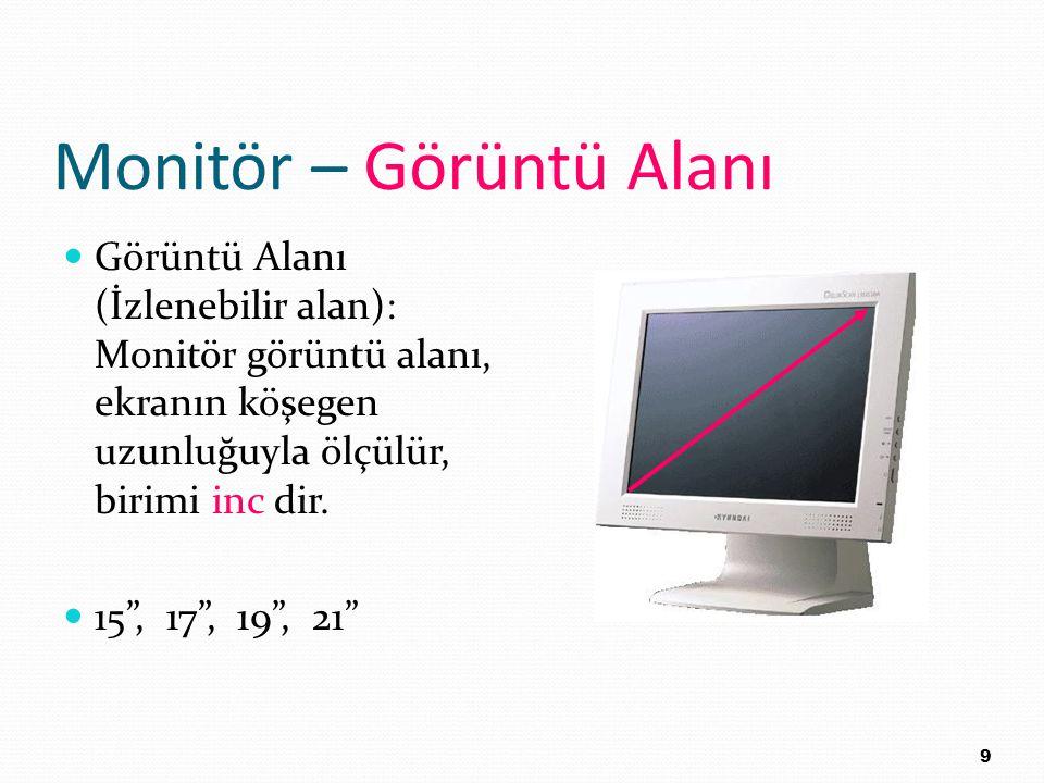 """Monitör – Görüntü Alanı Görüntü Alanı (İzlenebilir alan): Monitör görüntü alanı, ekranın köşegen uzunluğuyla ölçülür, birimi inc dir. 15"""", 17"""", 19"""", 2"""