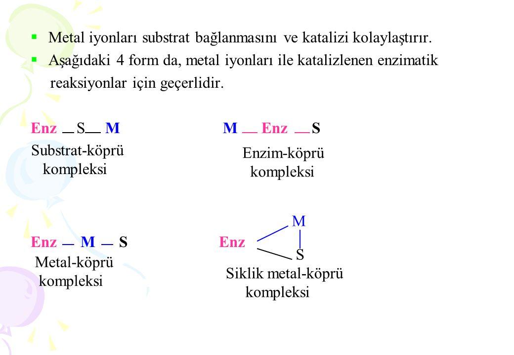  Metal iyonları substrat bağlanmasını ve katalizi kolaylaştırır.  Aşağıdaki 4 form da, metal iyonları ile katalizlenen enzimatik reaksiyonlar için g