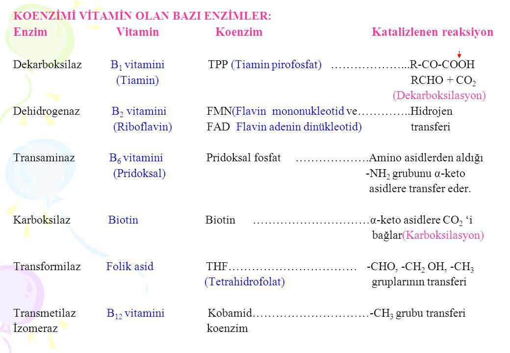KOENZİMİ VİTAMİN OLAN BAZI ENZİMLER: Enzim Vitamin Koenzim Katalizlenen reaksiyon Dekarboksilaz B 1 vitamini TPP (Tiamin pirofosfat) ………………...R-CO-COO