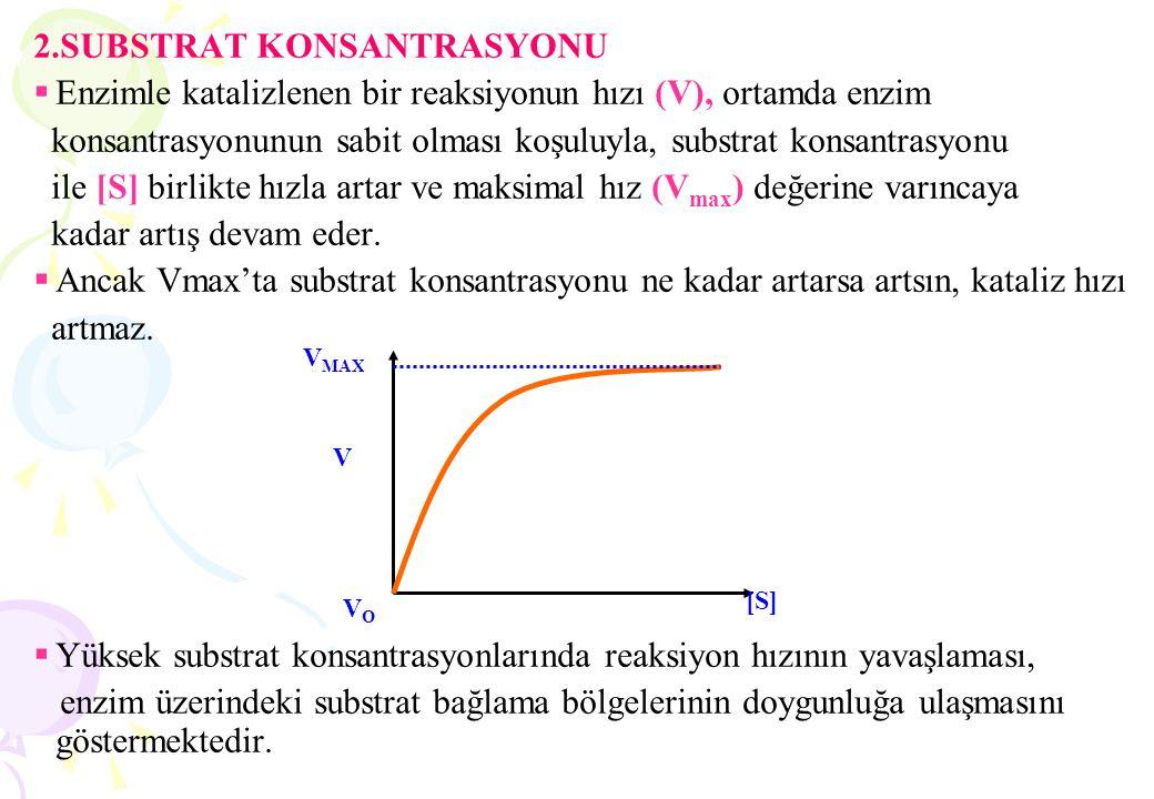 2.SUBSTRAT KONSANTRASYONU  Enzimle katalizlenen bir reaksiyonun hızı (V), ortamda enzim konsantrasyonunun sabit olması koşuluyla, substrat konsantras