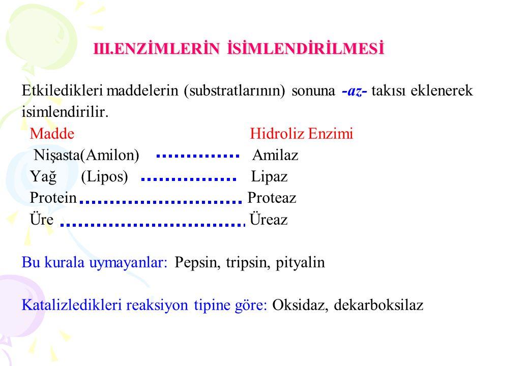 III.ENZİMLERİN İSİMLENDİRİLMESİ Etkiledikleri maddelerin (substratlarının) sonuna -az- takısı eklenerek isimlendirilir. Madde Hidroliz Enzimi Nişasta(