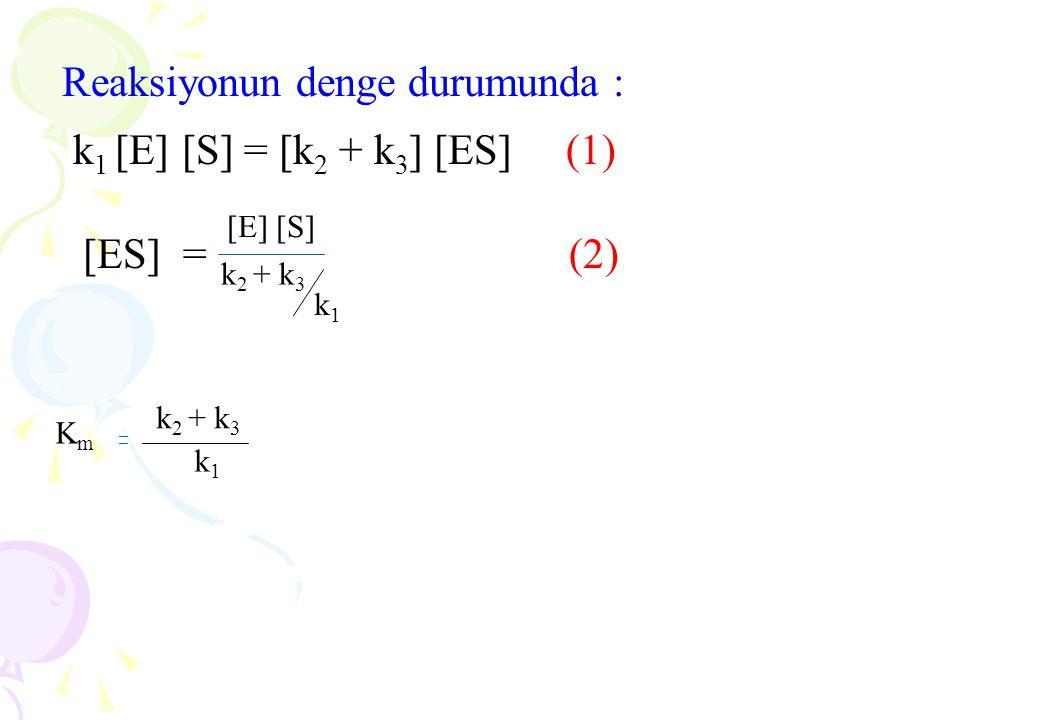 Reaksiyonun denge durumunda : k 1 [E] [S] = [k 2 + k 3 ] [ES] (1) [ES] = (2) [E] [S][E] [S] k 2 + k 3 k 1 k 2 + k 3 k 1 KmKm