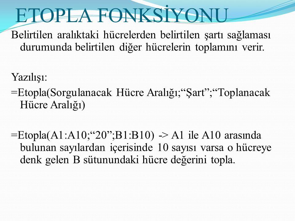 ETOPLA FONKSİYONU Belirtilen aralıktaki hücrelerden belirtilen şartı sağlaması durumunda belirtilen diğer hücrelerin toplamını verir. Yazılışı: =Etopl