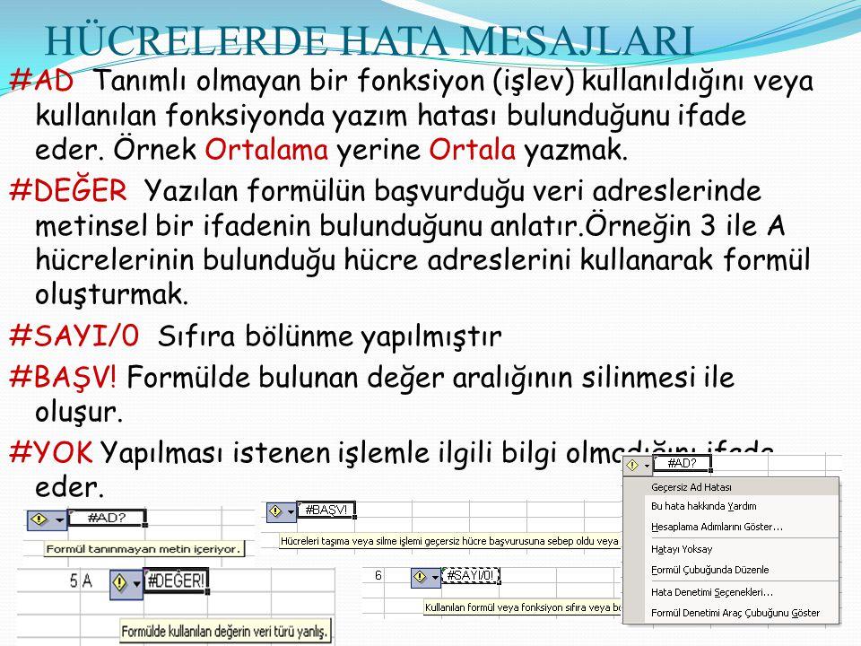 HÜCRELERDE HATA MESAJLARI #AD Tanımlı olmayan bir fonksiyon (işlev) kullanıldığını veya kullanılan fonksiyonda yazım hatası bulunduğunu ifade eder. Ör