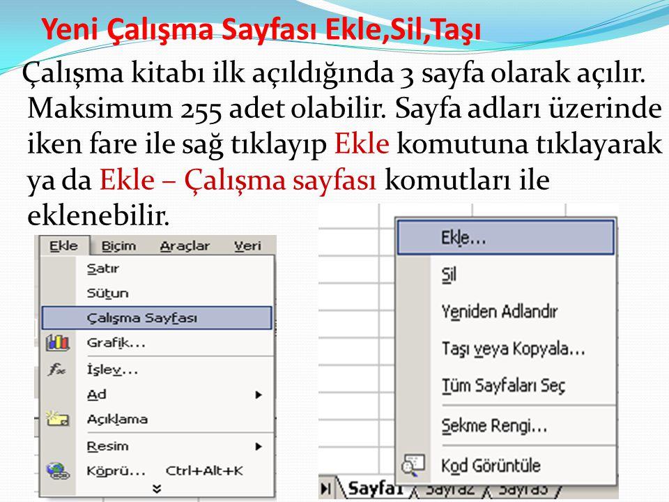 Yeni Çalışma Sayfası Ekle,Sil,Taşı Çalışma kitabı ilk açıldığında 3 sayfa olarak açılır. Maksimum 255 adet olabilir. Sayfa adları üzerinde iken fare i