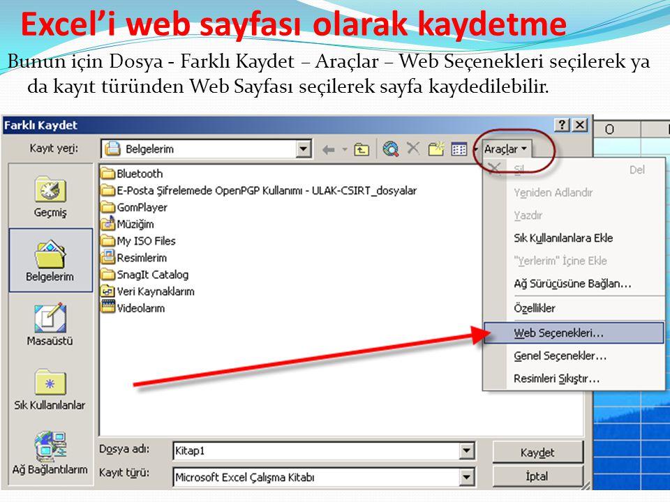 Excel'i web sayfası olarak kaydetme Bunun için Dosya - Farklı Kaydet – Araçlar – Web Seçenekleri seçilerek ya da kayıt türünden Web Sayfası seçilerek