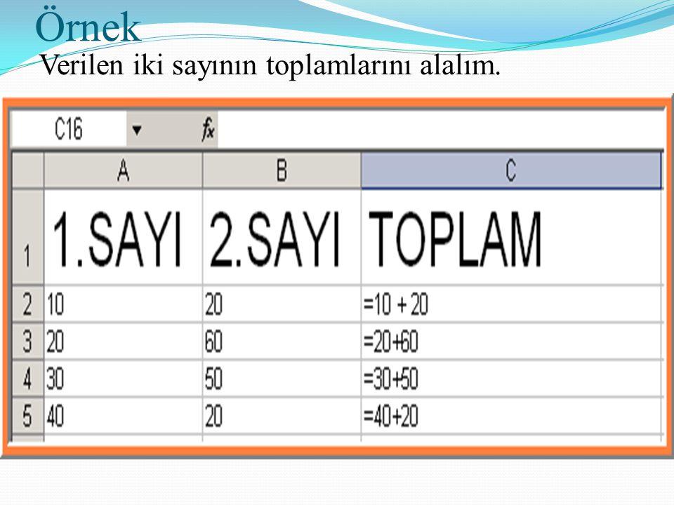 Örnek Verilen iki sayının toplamlarını alalım.
