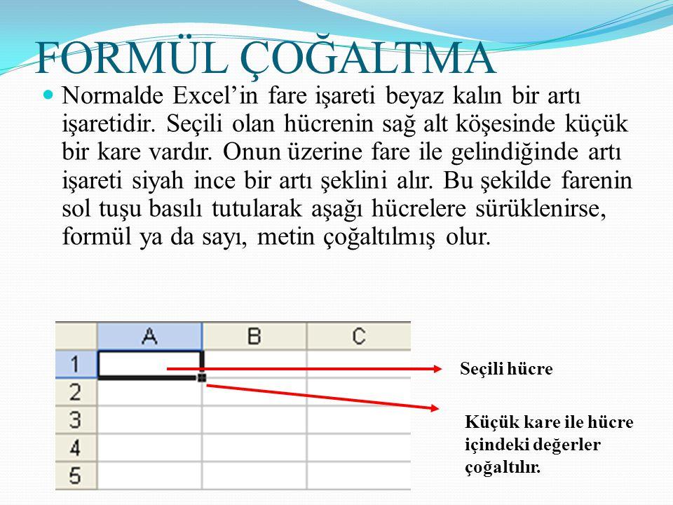 FORMÜL ÇOĞALTMA Normalde Excel'in fare işareti beyaz kalın bir artı işaretidir. Seçili olan hücrenin sağ alt köşesinde küçük bir kare vardır. Onun üze