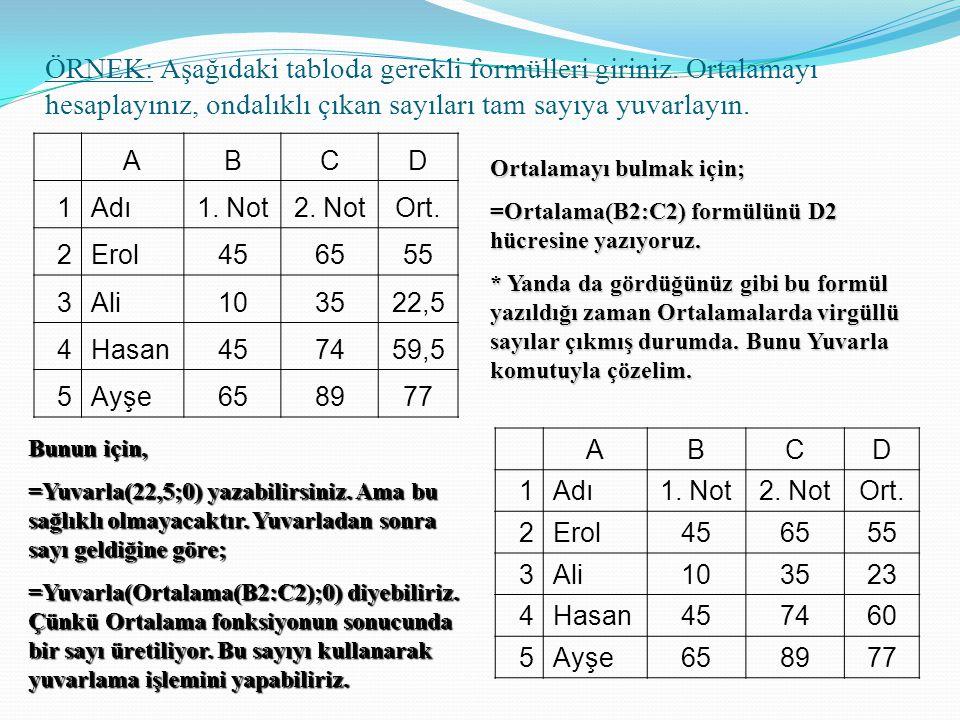 ÖRNEK: Aşağıdaki tabloda gerekli formülleri giriniz. Ortalamayı hesaplayınız, ondalıklı çıkan sayıları tam sayıya yuvarlayın. ABCD 1Adı1. Not2. NotOrt