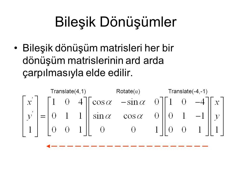 Bileşik Dönüşümler Bileşik dönüşüm matrisleri her bir dönüşüm matrislerinin ard arda çarpılmasıyla elde edilir.
