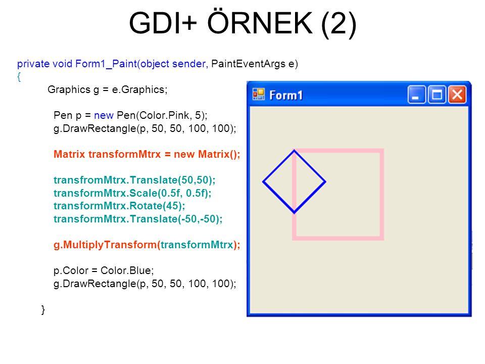 GDI+ ÖRNEK (2) private void Form1_Paint(object sender, PaintEventArgs e) { Graphics g = e.Graphics; Pen p = new Pen(Color.Pink, 5); g.DrawRectangle(p, 50, 50, 100, 100); Matrix transformMtrx = new Matrix(); transfromMtrx.Translate(50,50); transformMtrx.Scale(0.5f, 0.5f); transformMtrx.Rotate(45); transformMtrx.Translate(-50,-50); g.MultiplyTransform(transformMtrx); p.Color = Color.Blue; g.DrawRectangle(p, 50, 50, 100, 100); }