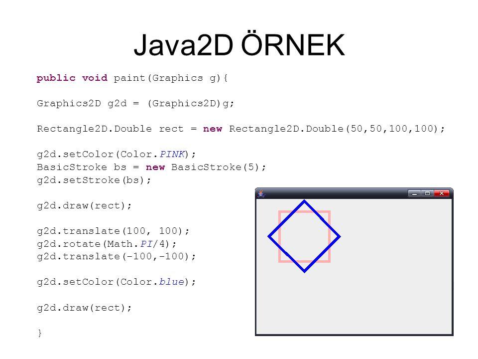 Java2D ÖRNEK public void paint(Graphics g){ Graphics2D g2d = (Graphics2D)g; Rectangle2D.Double rect = new Rectangle2D.Double(50,50,100,100); g2d.setColor(Color.PINK); BasicStroke bs = new BasicStroke(5); g2d.setStroke(bs); g2d.draw(rect); g2d.translate(100, 100); g2d.rotate(Math.PI/4); g2d.translate(-100,-100); g2d.setColor(Color.blue); g2d.draw(rect); }