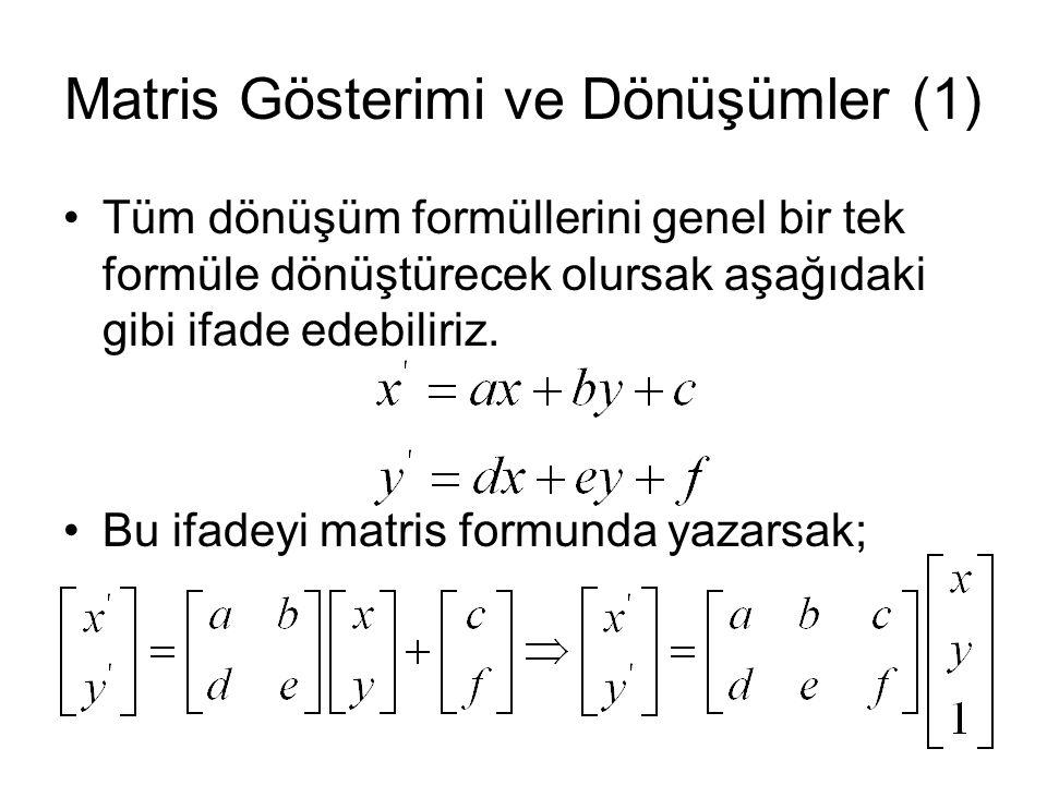 Matris Gösterimi ve Dönüşümler (1) Tüm dönüşüm formüllerini genel bir tek formüle dönüştürecek olursak aşağıdaki gibi ifade edebiliriz.