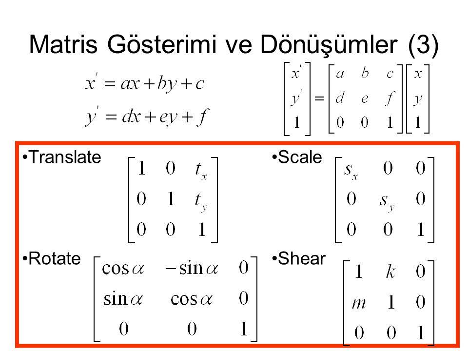 Matris Gösterimi ve Dönüşümler (3) TranslateScale RotateShear