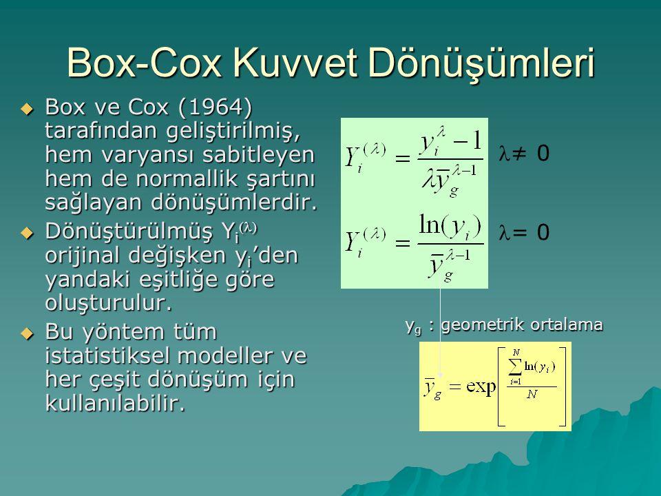 Box-Cox Kuvvet Dönüşümleri  Box ve Cox (1964) tarafından geliştirilmiş, hem varyansı sabitleyen hem de normallik şartını sağlayan dönüşümlerdir.