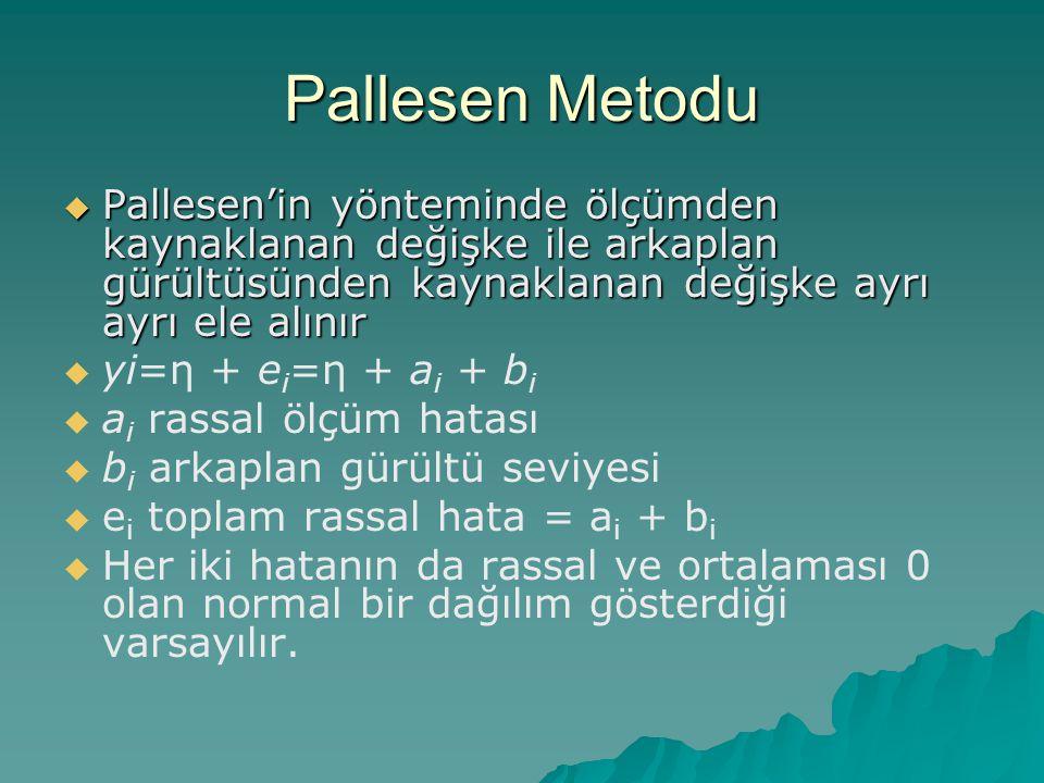 Pallesen Metodu  Pallesen'in yönteminde ölçümden kaynaklanan değişke ile arkaplan gürültüsünden kaynaklanan değişke ayrı ayrı ele alınır   yi=η + e i =η + a i + b i   a i rassal ölçüm hatası   b i arkaplan gürültü seviyesi   e i toplam rassal hata = a i + b i   Her iki hatanın da rassal ve ortalaması 0 olan normal bir dağılım gösterdiği varsayılır.