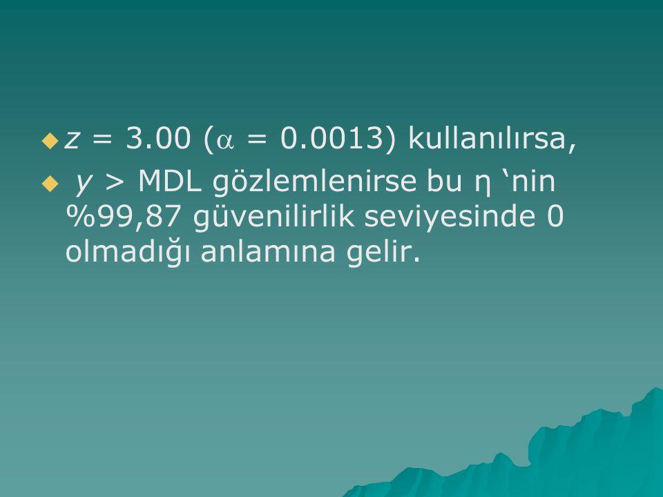   z = 3.00 ( = 0.0013) kullanılırsa,   y > MDL gözlemlenirse bu η 'nin %99,87 güvenilirlik seviyesinde 0 olmadığı anlamına gelir.