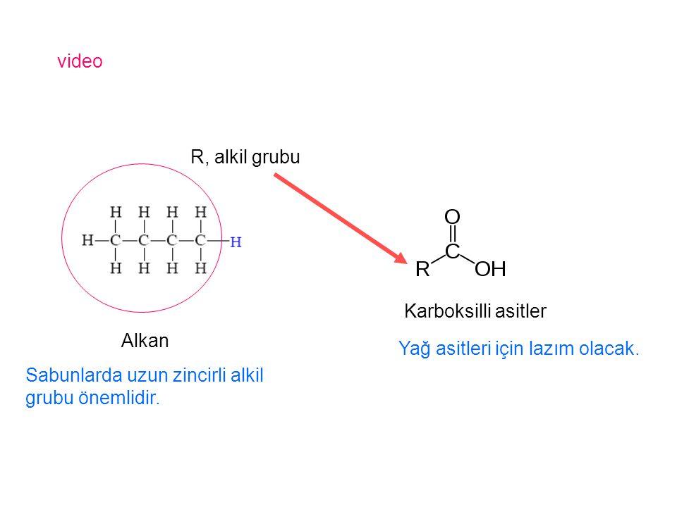 video Alkan Karboksilli asitler R, alkil grubu Sabunlarda uzun zincirli alkil grubu önemlidir. Yağ asitleri için lazım olacak.