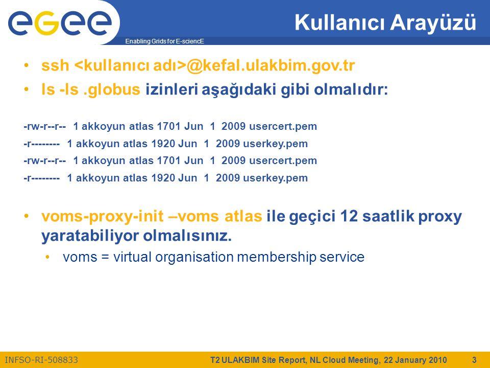Enabling Grids for E-sciencE INFSO-RI-508833 T2 ULAKBIM Site Report, NL Cloud Meeting, 22 January 2010 3 Kullanıcı Arayüzü ssh @kefal.ulakbim.gov.tr ls -ls.globus izinleri aşağıdaki gibi olmalıdır: -rw-r--r-- 1 akkoyun atlas 1701 Jun 1 2009 usercert.pem -r-------- 1 akkoyun atlas 1920 Jun 1 2009 userkey.pem -rw-r--r-- 1 akkoyun atlas 1701 Jun 1 2009 usercert.pem -r-------- 1 akkoyun atlas 1920 Jun 1 2009 userkey.pem voms-proxy-init –voms atlas ile geçici 12 saatlik proxy yaratabiliyor olmalısınız.