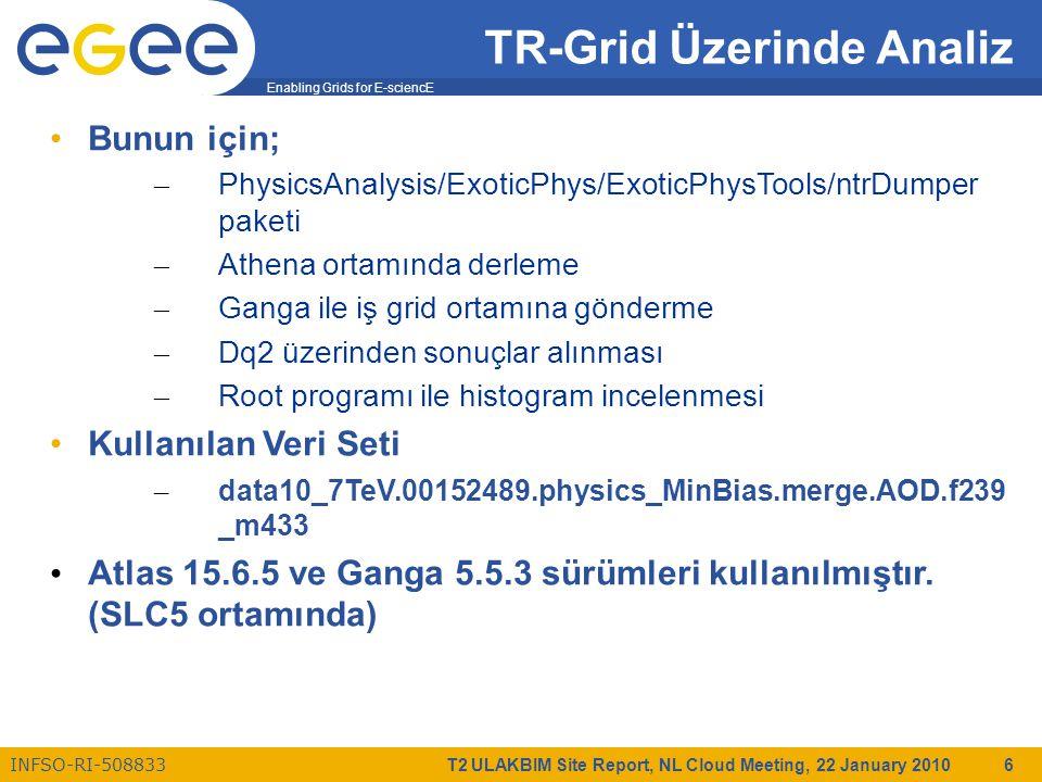 Enabling Grids for E-sciencE INFSO-RI-508833 T2 ULAKBIM Site Report, NL Cloud Meeting, 22 January 2010 6 TR-Grid Üzerinde Analiz Bunun için; – PhysicsAnalysis/ExoticPhys/ExoticPhysTools/ntrDumper paketi – Athena ortamında derleme – Ganga ile iş grid ortamına gönderme – Dq2 üzerinden sonuçlar alınması – Root programı ile histogram incelenmesi Kullanılan Veri Seti – data10_7TeV.00152489.physics_MinBias.merge.AOD.f239 _m433 Atlas 15.6.5 ve Ganga 5.5.3 sürümleri kullanılmıştır.
