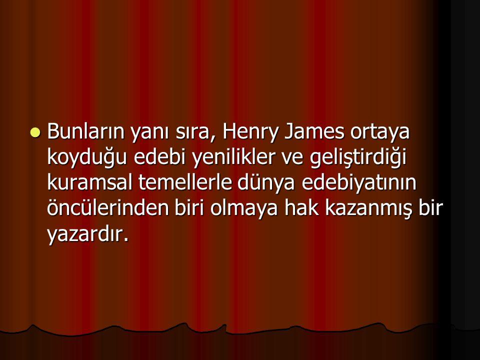 Bunların yanı sıra, Henry James ortaya koyduğu edebi yenilikler ve geliştirdiği kuramsal temellerle dünya edebiyatının öncülerinden biri olmaya hak ka