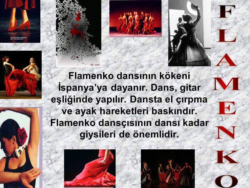 Flamenko dansının kökeni İspanya'ya dayanır. Dans, gitar eşliğinde yapılır. Dansta el çırpma ve ayak hareketleri baskındır. Flamenko dansçısının dansı