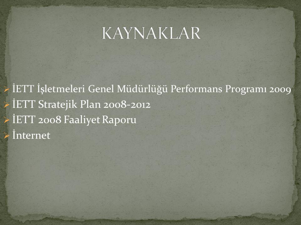  İETT İşletmeleri Genel Müdürlüğü Performans Programı 2009  İETT Stratejik Plan 2008-2012  İETT 2008 Faaliyet Raporu  İnternet