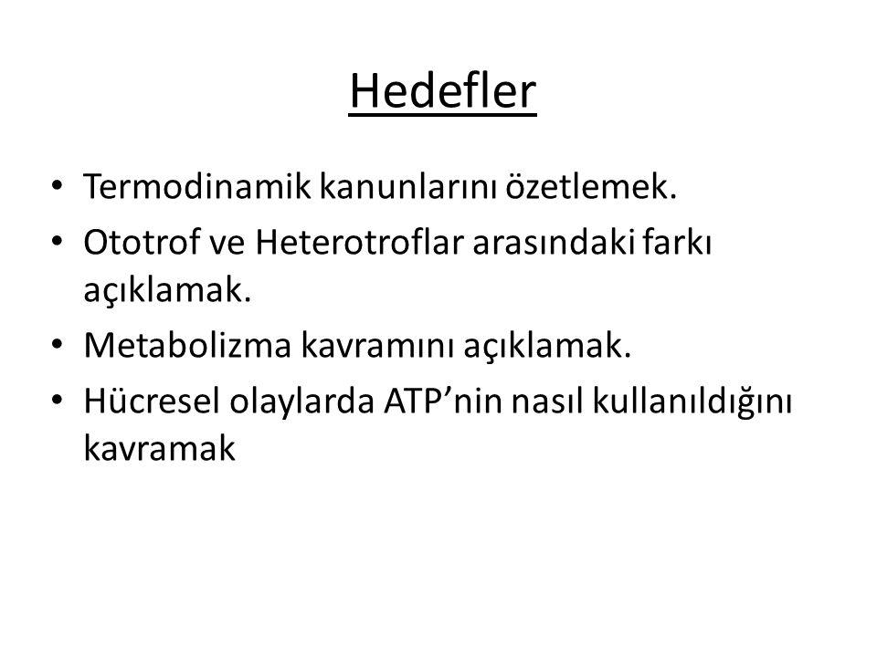 Hedefler Termodinamik kanunlarını özetlemek.Ototrof ve Heterotroflar arasındaki farkı açıklamak.