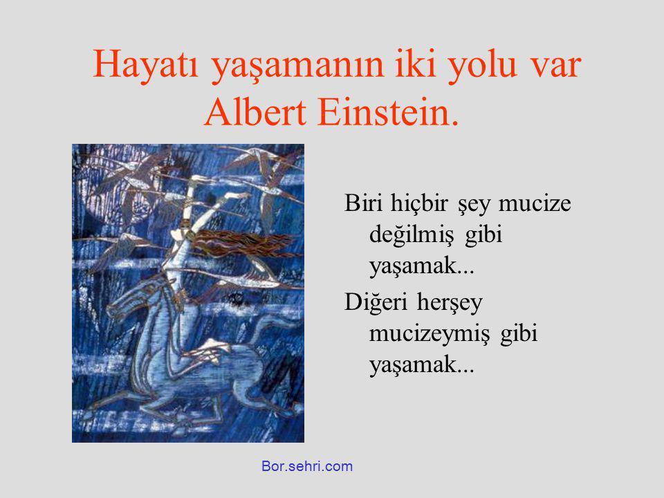 Hayatı yaşamanın iki yolu var Albert Einstein. Biri hiçbir şey mucize değilmiş gibi yaşamak... Diğeri herşey mucizeymiş gibi yaşamak... Bor.sehri.com